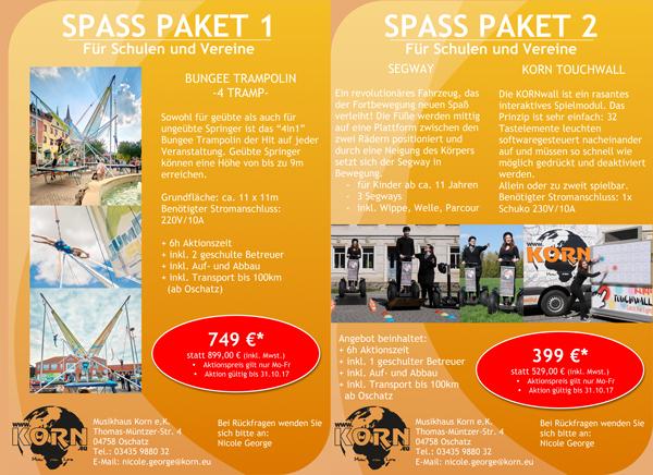 KORN Trampolin - Segway - Touchwall - Spaßpakete für Schulen und Vereine