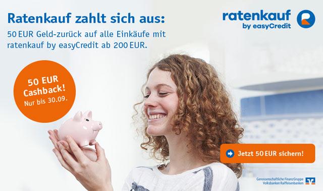 Ratenkauf by easyCredit - 50 Euro Cashback für Einkäufe ab 200 Euro