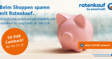 Ratenkauf by easyCredit - 50 Euro Cashback für Einkäufe ab 500 Euro