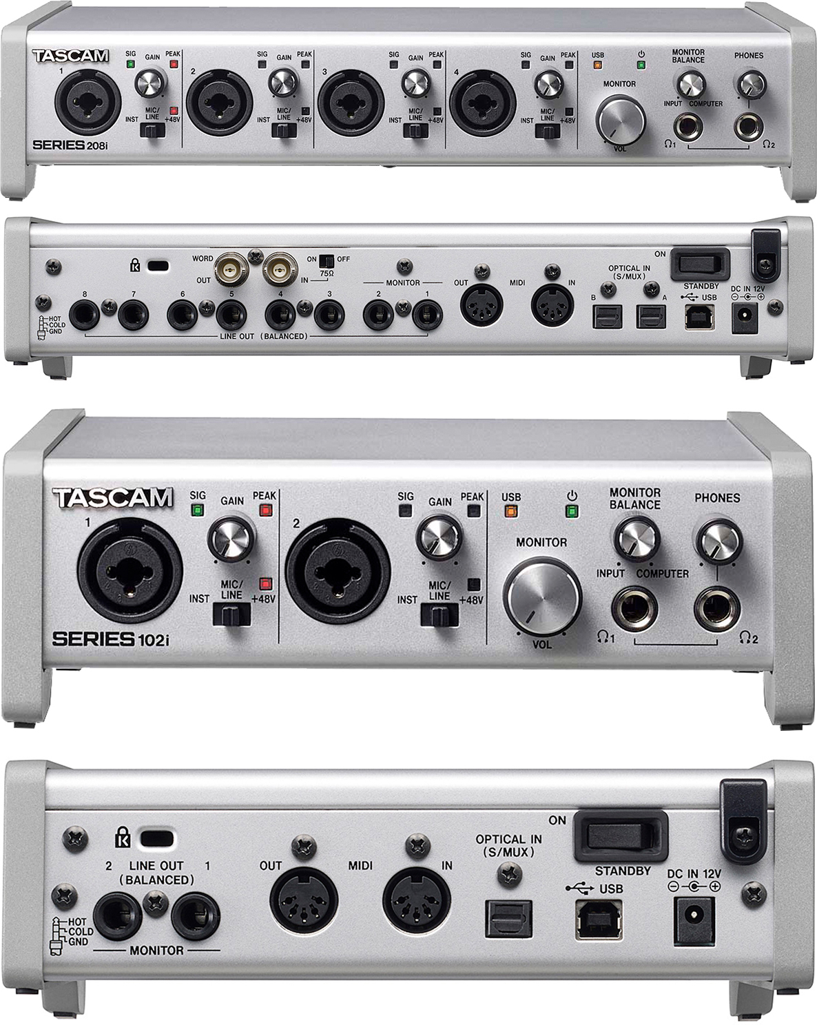 Tascam SERIES 102i/208i USB-Interfaces
