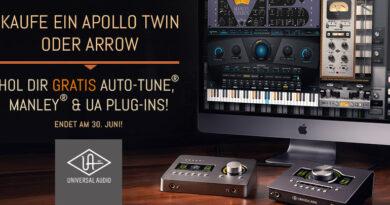 Kauf Dir ein Apollo Twin oder Arrow und erhalte die Plug-Ins Auto-Tune, Manley VOXBOX und UA Tape & Reverb im Wert von bis zu 846 € gratis dazu!