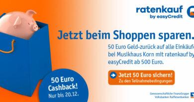 Nur noch bis 20.12. - 50 Euro Cashback für Einkäufe ab 500 Euro - Ratenkauf by easyCredit