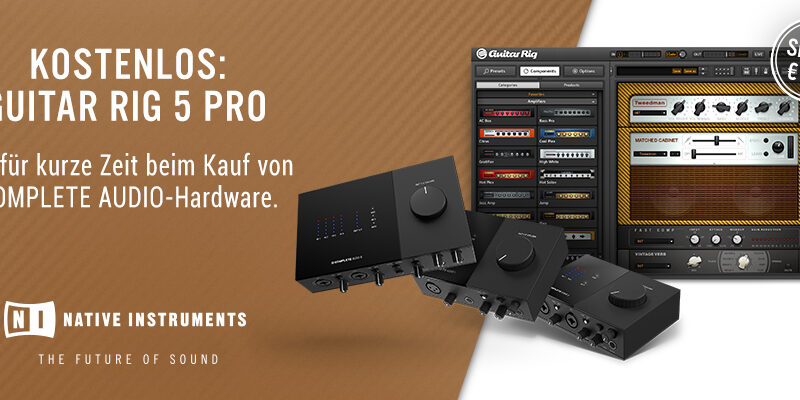 Gratis Guitar Rig 5 Pro beim Kauf von NI Komplete Audio Interfaces