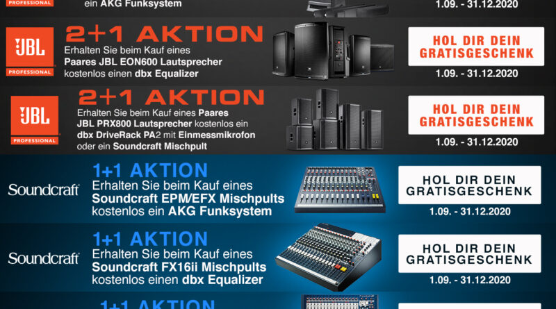 JBL - Soundcraft - Save Big Aktion - Gratis Zugaben